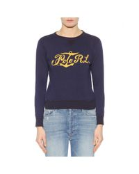 Polo Ralph Lauren - Blue Embroidered Cotton Sweater - Lyst