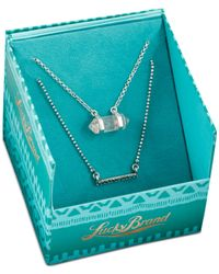 Lucky Brand - Metallic Silver-tone Clear Quartz Double Layer Necklace - Lyst