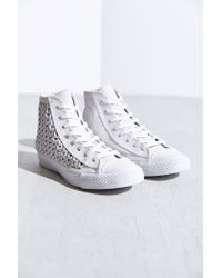 Converse - White All-Star Woven Suede High-Top Sneaker - Lyst