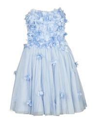 TOPSHOP Blue Applique Flower Bandeau Dress