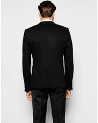 Noak Jersey Blazer In Super Skinny Fit - Black for men