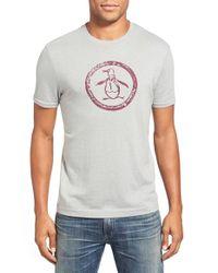 Original Penguin Gray 'circle Logo' Slim Fit Graphic T-shirt for men