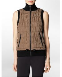 Calvin Klein - Brown White Label Performance Quilted High Low Puffer Vest - Lyst