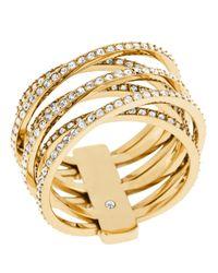 Michael Kors Metallic Clear Stone Crisscross Ring