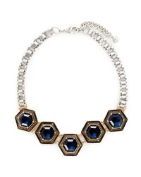 Lulu Frost Metallic 'nicandra' Glass Crystal Arched Chain Necklace