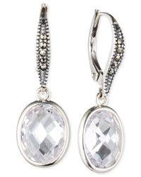 Judith Jack - Metallic Sterling Silver Marcasite And Cubic Zirconia Drop Earrings - Lyst