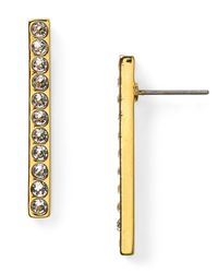 T Tahari | Metallic Pave Bar Earrings | Lyst