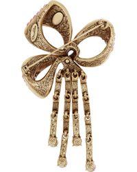 Oscar de la Renta Pink Bow Goldtone Crystal Brooch