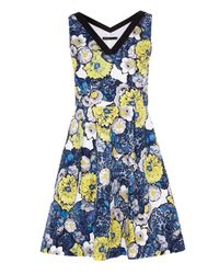 Karen Millen | Blue Daisy Floral Print On Cotton Dress | Lyst