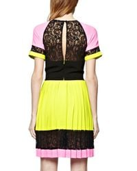 French Connection - Black French Connecton Arrow Lace Pleat Dress - Lyst