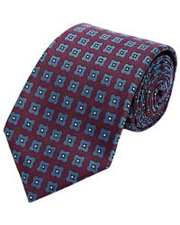 Isaia Purple Men's Floral-pattern Seven-fold Necktie for men