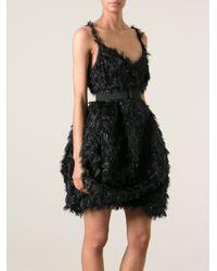 Lanvin | Black Ostrich Feather Shift Dress | Lyst