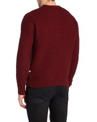 Farah | Red Heany Crew Neck Cable Knit Jumper for Men | Lyst