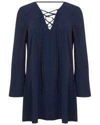 Miss Selfridge Blue Long Sleeve Lace Tunic