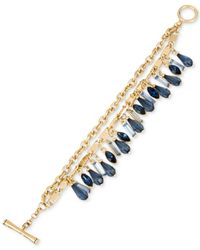 Kenneth Cole - Gold-tone Chain And Blue Crystal Bracelet - Lyst