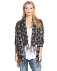 Caslon | Black Fringed Open Front Cardigan | Lyst