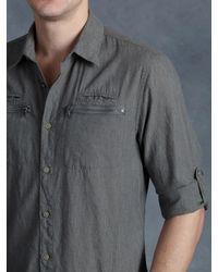 John Varvatos - Gray Cotton Zip Pocket Shirt for Men - Lyst