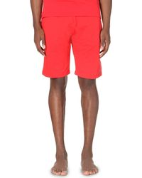 Moschino | Red Logo-print Stretch-cotton Shorts for Men | Lyst
