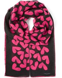 Saint Laurent Pink Heart Print Scarf