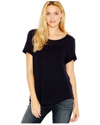 Lucky Brand | Blue Lucky Brand Linen-blend Heathered Tee | Lyst
