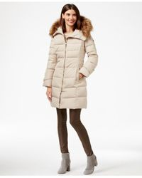 Calvin Klein | Natural Faux-fur-trim Down Puffer Coat | Lyst