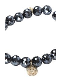 Sydney Evan Black Small Happy Face Yellow Gold Pave Charm