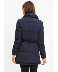 Forever 21 - Blue Drawstring-waist Puffer Jacket - Lyst