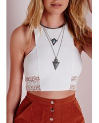 Missguided | Blue Three Layered Turquoise Mix Necklace | Lyst