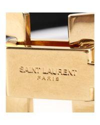 Saint Laurent - Black Signature Clous Punk Carré Leather Bracelet - Lyst