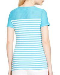 Lauren by Ralph Lauren Blue Striped Mesh-yoke Top