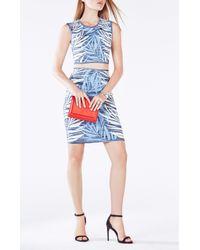 BCBGMAXAZRIA - Blue Jaelynnn Palms Print Knit Jacquard Crop Top - Lyst