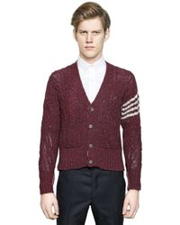 Thom Browne | Red Donegal Wool Cardigan for Men | Lyst