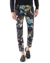 Gucci Blue Flora Knight Print Stretch Gabardine Pants for men