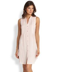 Hanro - Pink Cotton Deluxe Button-front Tank Gown - Lyst