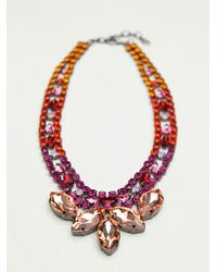 Free People - Pink Crystal Collar - Lyst