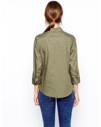 ASOS - Green 3/4 Sleeve Shirt - Lyst