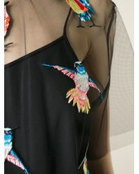 MSGM - Black Birds Embroidered Mesh Top - Lyst