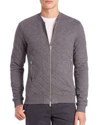 J.Lindeberg - Gray Randall Quilted Zip Sweater for Men - Lyst