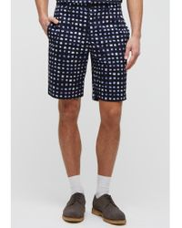 Jigsaw - Blue Painted Check Shorts for Men - Lyst