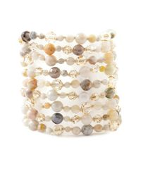 Chan Luu - Metallic African Opal Mix Strand Bracelet On Petal Leather - Lyst