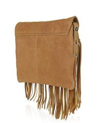 TOPSHOP - Brown Leather Tassel Crossbody Bag - Lyst