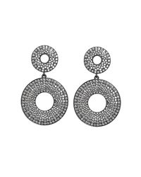 Asha | Elizabeth Pave Earrings, Black | Lyst