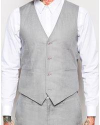 ASOS Gray Slim Fit Waistcoat In 100% Linen for men