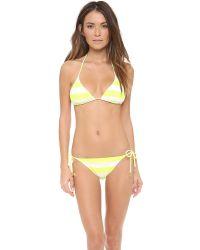 Juicy Couture Yellow Sixties Stripe Bikini Bottoms - Aqua Sky