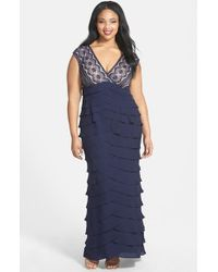 Adrianna Papell Blue Lace Bodice Shutter Pleat Gown