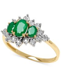 Macy's | Green Emerald (3/4 Ct. T.w.) And Diamond Accent Ring In 10k Gold | Lyst