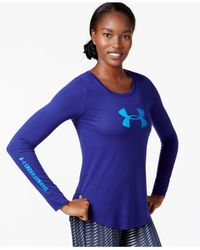 Under Armour | Purple Long-sleeve Logo Top | Lyst
