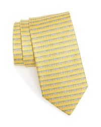 Ferragamo | Yellow Dog Print Silk Tie for Men | Lyst