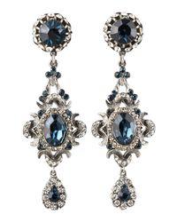 Jose & Maria Barrera - Blue Crystal Clip Earrings - Lyst