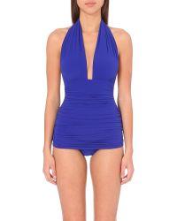 Norma Kamali | Blue Bill Milo Halterneck Swimsuit | Lyst